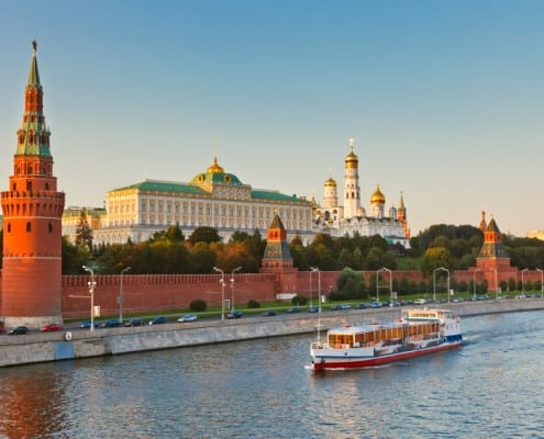 Teach English in Russia - Moscow kremlin at sunset